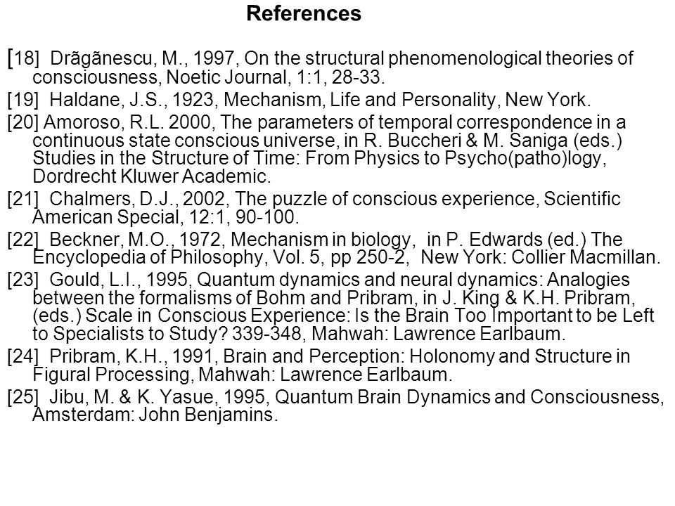 References [18] Drãgãnescu, M., 1997, On the structural phenomenological theories of consciousness, Noetic Journal, 1:1, 28-33.